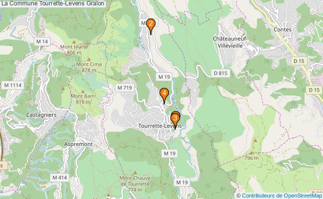 plan La Commune Tourrette-Levens Associations La Commune Tourrette-Levens : 4 associations