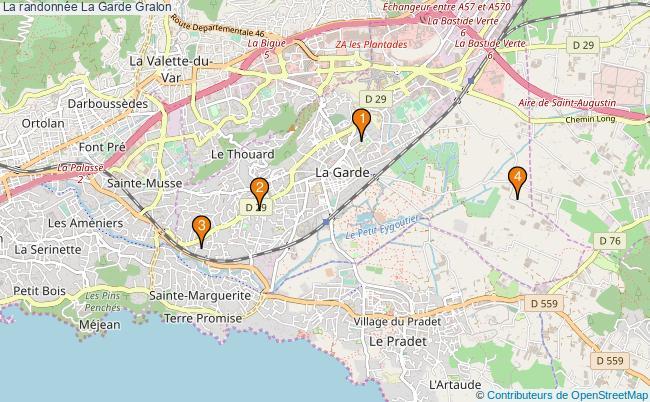 plan La randonnée La Garde Associations La randonnée La Garde : 4 associations