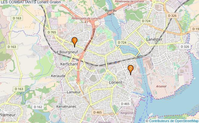 plan LES COMBATTANTS Lorient Associations LES COMBATTANTS Lorient : 2 associations