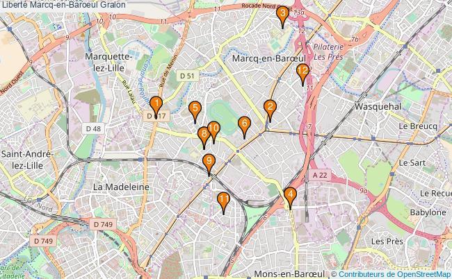 plan Liberté Marcq-en-Baroeul Associations liberté Marcq-en-Baroeul : 12 associations