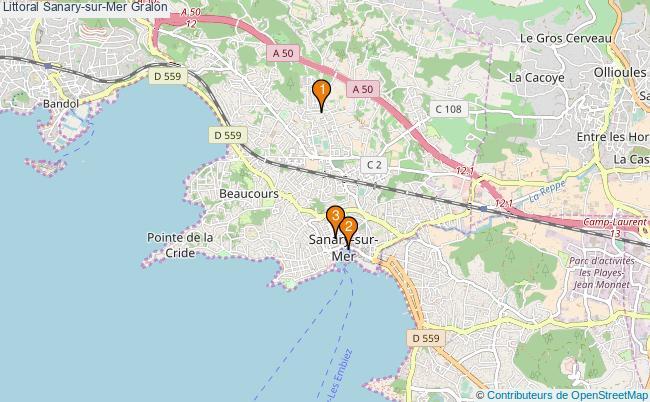 plan Littoral Sanary-sur-Mer Associations Littoral Sanary-sur-Mer : 3 associations