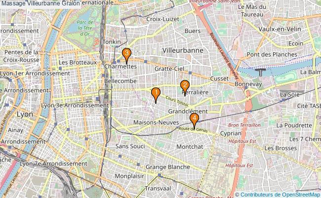plan Massage Villeurbanne Associations massage Villeurbanne : 4 associations