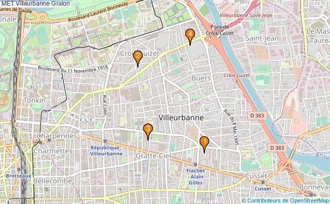 plan MET Villeurbanne Associations MET Villeurbanne : 7 associations