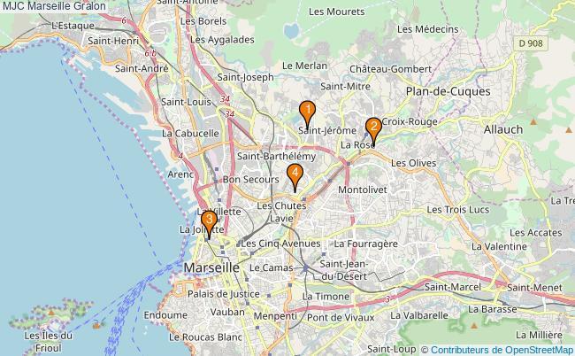 plan MJC Marseille Associations MJC Marseille : 4 associations