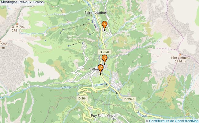 plan Montagne Pelvoux Associations Montagne Pelvoux : 4 associations