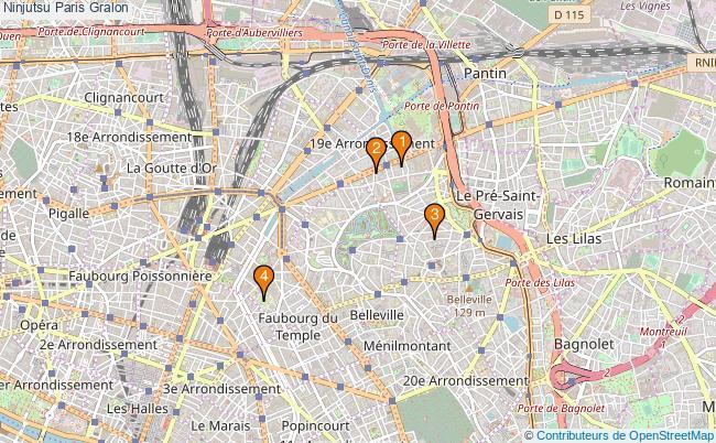 plan Ninjutsu Paris Associations ninjutsu Paris : 4 associations