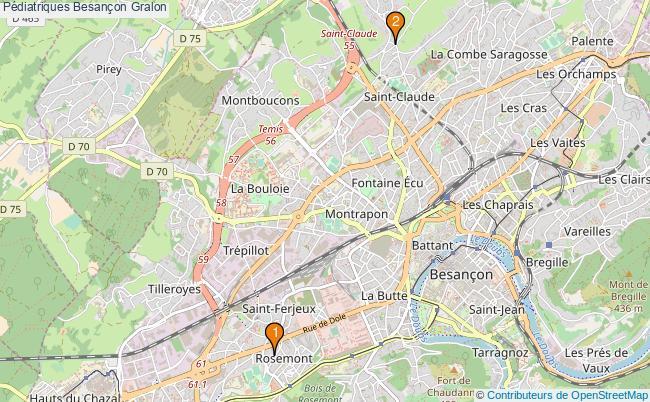 plan Pédiatriques Besançon Associations pédiatriques Besançon : 2 associations