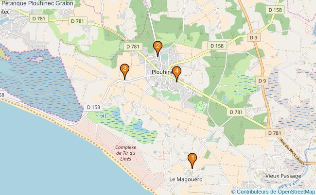 plan Pétanque Plouhinec Associations pétanque Plouhinec : 5 associations