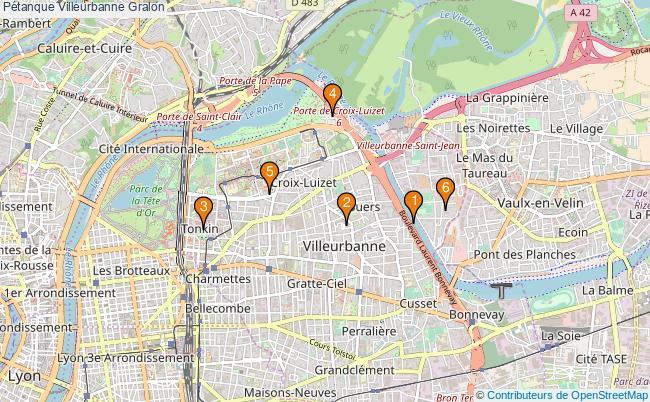 plan Pétanque Villeurbanne Associations pétanque Villeurbanne : 7 associations