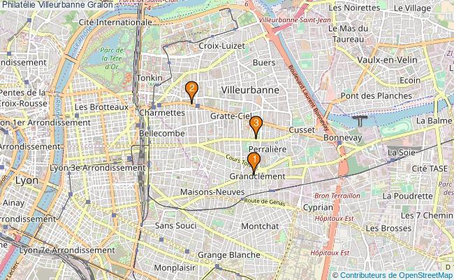 plan Philatélie Villeurbanne Associations philatélie Villeurbanne : 3 associations