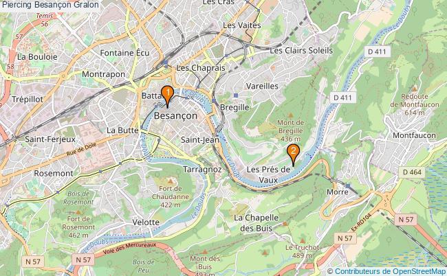 plan Piercing Besançon Associations piercing Besançon : 2 associations