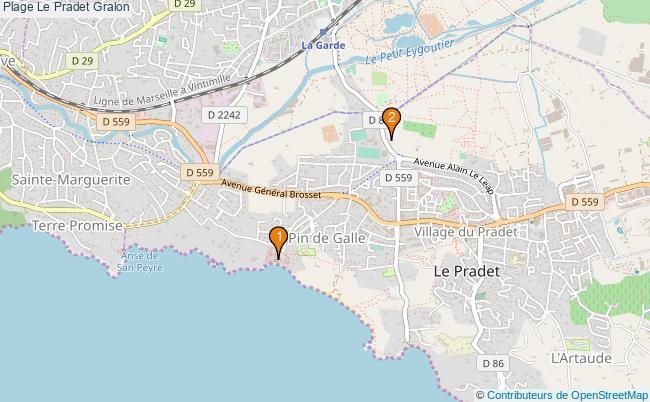 plan Plage Le Pradet Associations plage Le Pradet : 2 associations