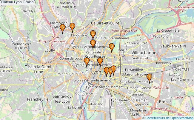 plan Plateau Lyon Associations plateau Lyon : 12 associations