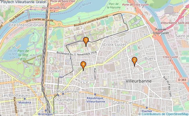 plan Polytech Villeurbanne Associations Polytech Villeurbanne : 4 associations