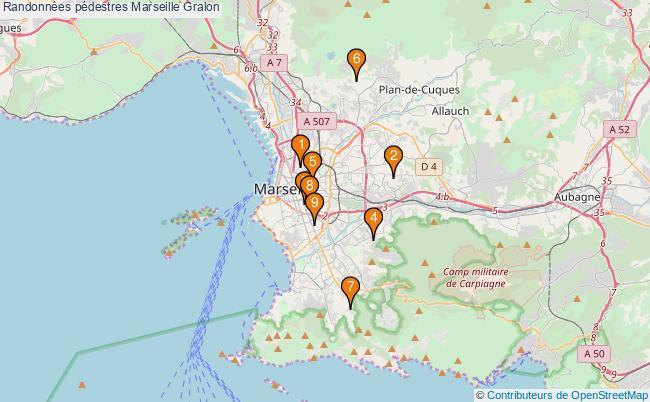 plan Randonnées pédestres Marseille Associations randonnées pédestres Marseille : 9 associations