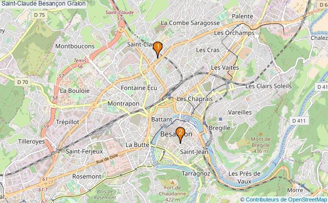 plan Saint-Claude Besançon Associations Saint-Claude Besançon : 2 associations
