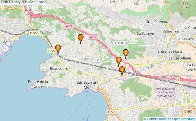 plan Sein Sanary-sur-Mer Associations Sein Sanary-sur-Mer : 6 associations