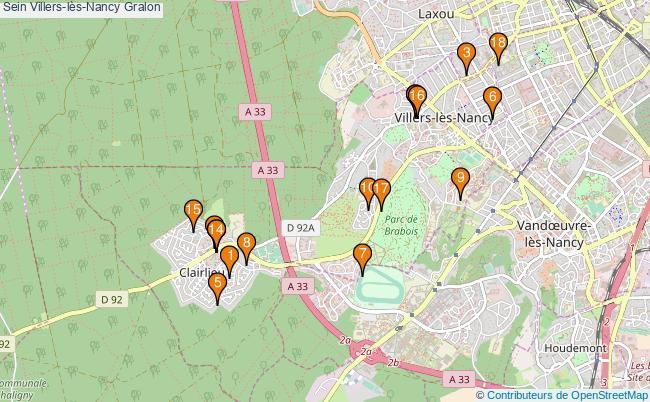 plan Sein Villers-lès-Nancy Associations Sein Villers-lès-Nancy : 17 associations
