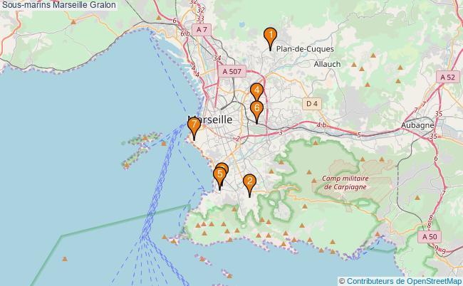 plan Sous-marins Marseille Associations sous-marins Marseille : 7 associations