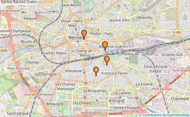 plan Sphère Rennes Associations sphère Rennes : 4 associations