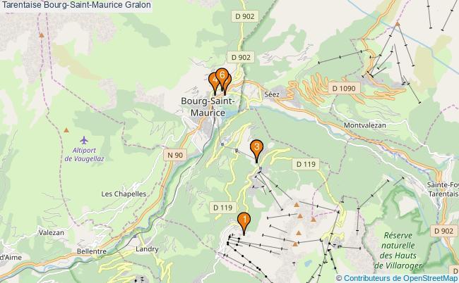 plan Tarentaise Bourg-Saint-Maurice Associations Tarentaise Bourg-Saint-Maurice : 6 associations