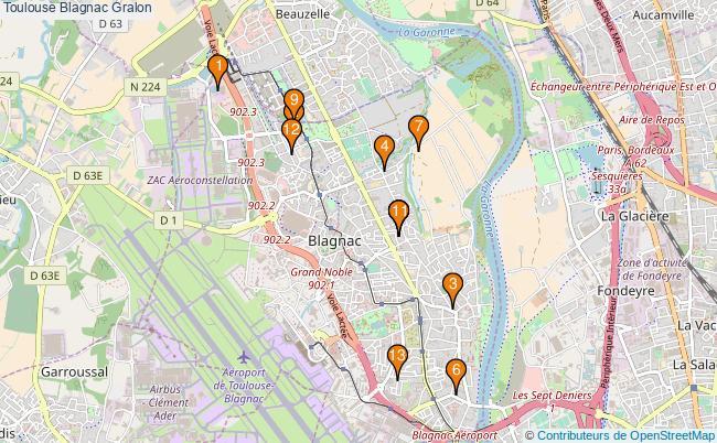 plan Toulouse Blagnac Associations Toulouse Blagnac : 13 associations