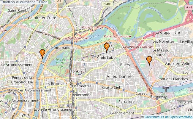 plan Triathlon Villeurbanne Associations triathlon Villeurbanne : 2 associations