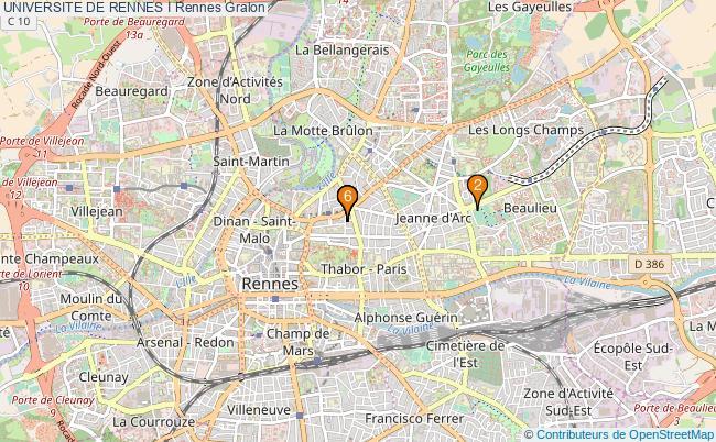 plan UNIVERSITE DE RENNES I Rennes Associations UNIVERSITE DE RENNES I Rennes : 6 associations