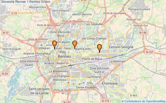 plan Université Rennes 1 Rennes Associations Université Rennes 1 Rennes : 7 associations