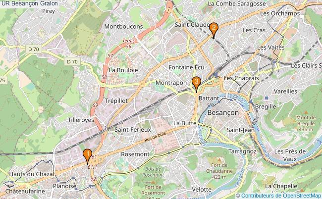 plan UR Besançon Associations UR Besançon : 3 associations