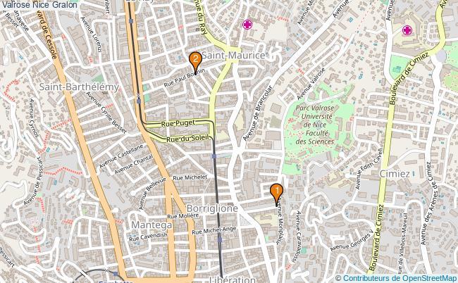 plan Valrose Nice Associations Valrose Nice : 2 associations