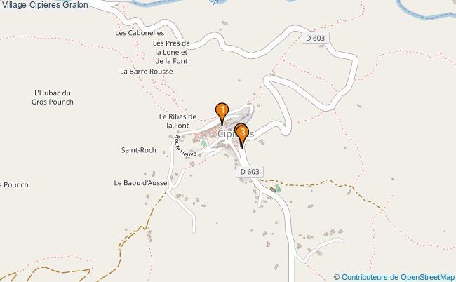 plan Village Cipières Associations village Cipières : 3 associations