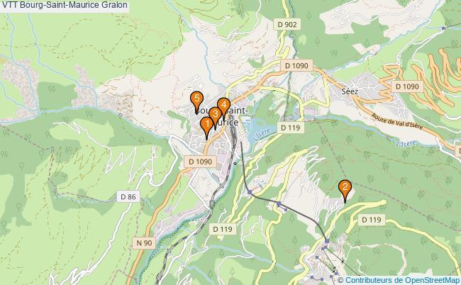 plan VTT Bourg-Saint-Maurice Associations VTT Bourg-Saint-Maurice : 5 associations