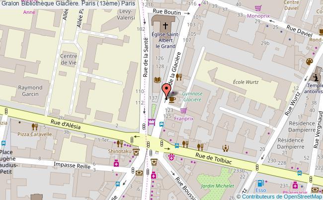 plan association Bibliothèque Glacière. Paris (13ème) Paris