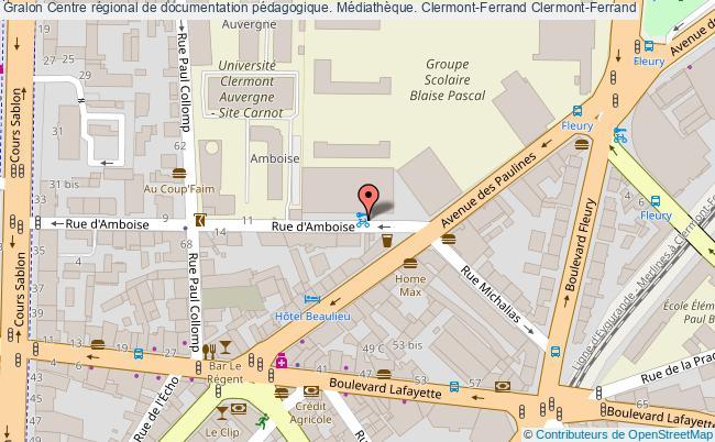 plan association Centre Régional De Documentation Pédagogique. Médiathèque. Clermont-ferrand Clermont-Ferrand
