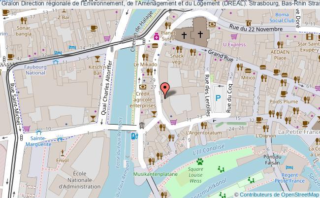 plan association Direction Régionale De L'environnement, De L'aménagement Et Du Logement (dreal). Strasbourg, Bas-rhin Strasbourg