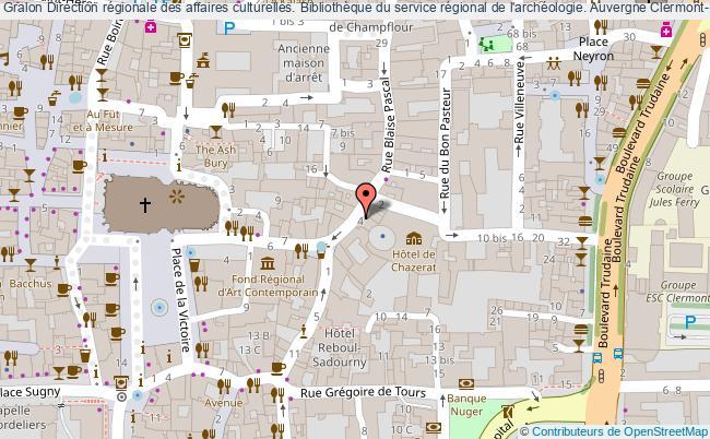 plan association Direction Régionale Des Affaires Culturelles. Bibliothèque Du Service Régional De L'archéologie. Auvergne Clermont-Ferrand