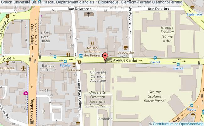 plan association Université Blaise Pascal. Département D'anglais * Bibliothèque. Clermont-ferrand Clermont-Ferrand