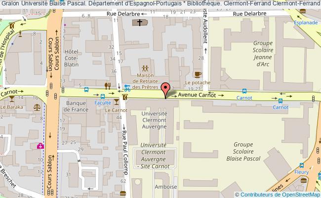 plan association Université Blaise Pascal. Département D'espagnol-portugais * Bibliothèque. Clermont-ferrand Clermont-Ferrand