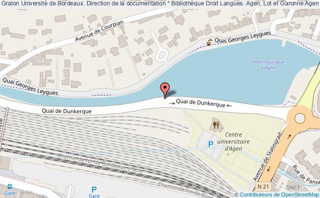 plan association Université De Bordeaux. Direction De La Documentation * Bibliothèque Droit Langues. Agen, Lot Et Garonne Agen