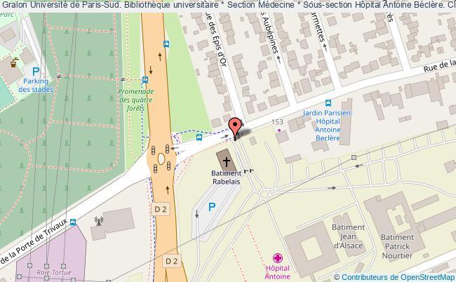 plan association Université De Paris-sud. Bibliothèque Universitaire * Section Médecine * Sous-section Hôpital Antoine Béclère. Clamart, Hauts-de-seine Clamart