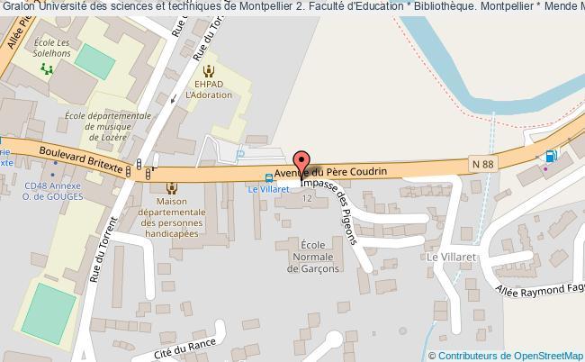 plan association Université Des Sciences Et Techniques De Montpellier 2. Faculté D'education * Bibliothèque. Montpellier * Mende Mende