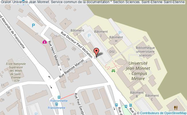 plan association Université Jean Monnet. Service Commun De La Documentation * Section Sciences. Saint-etienne Saint-Etienne