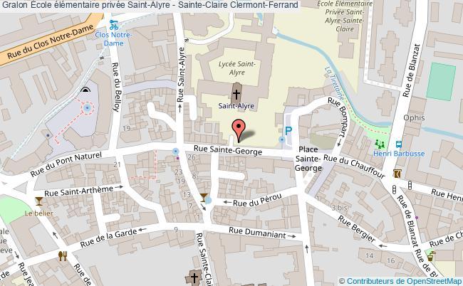 plan École élémentaire Privée Saint-alyre - Sainte-claire Clermont-ferrand Clermont-Ferrand
