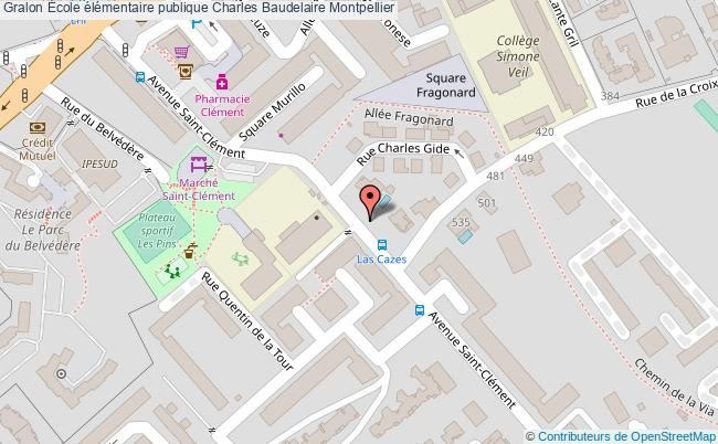 plan École élémentaire Publique Charles Baudelaire Montpellier Montpellier