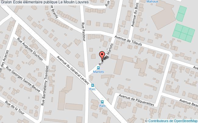 plan École élémentaire Publique Le Moulin Louvres Louvres