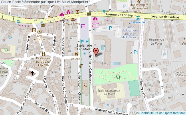 plan École élémentaire Publique Léo Malet Montpellier Montpellier