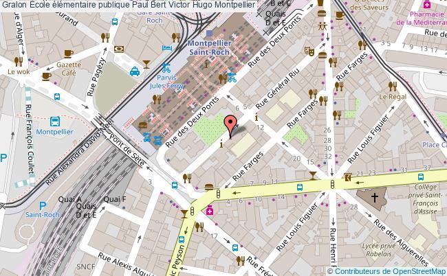 plan École élémentaire Publique Paul Bert Victor Hugo Montpellier Montpellier