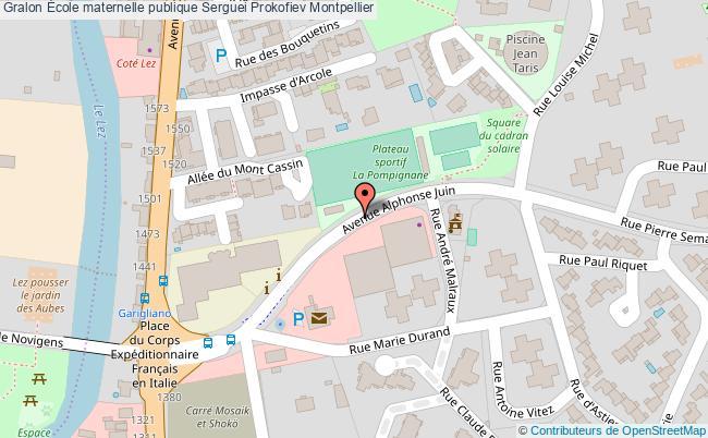 plan École Maternelle Publique Serguei Prokofiev Montpellier Montpellier