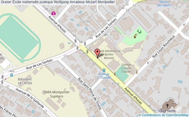plan École Maternelle Publique Wolfgang-amadeus Mozart Montpellier Montpellier